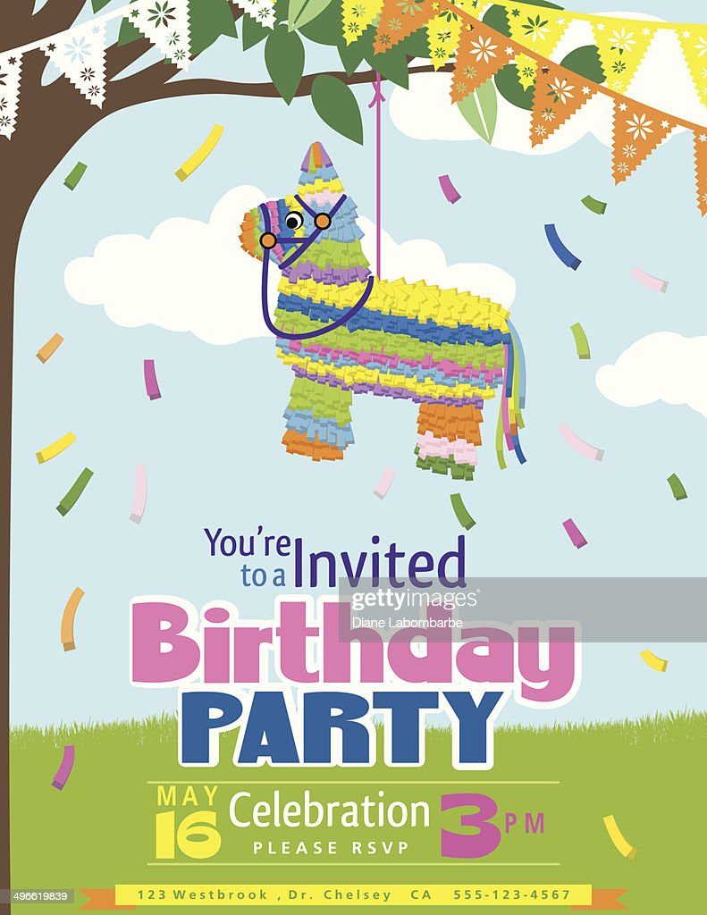 Juvenile Pi ata Birthday Party Invitation Template Vector Art – Birthday Party Invitation Backgrounds