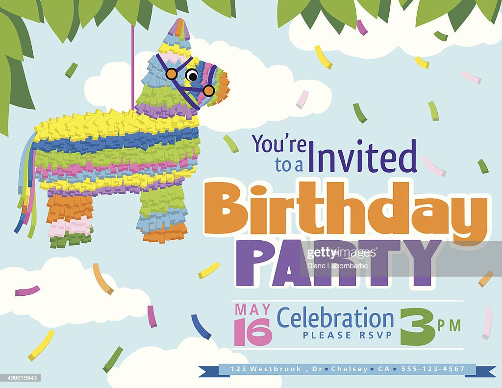 Juvenile Pi ata Birthday Party Invitation Template Vector Art – Birthday Party Invitation Template