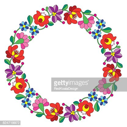 Kalocsai embroidery in circle - Hungarian floral folk pattern : Vector Art