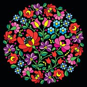 Vector background - traditional pattern from Hungary isolated on black background