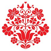 Vector background - traditional pattern from Hungary isolated on white