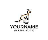 Kangaroo animal linear, design. Wildlife, nature, wild, vector design and illustration