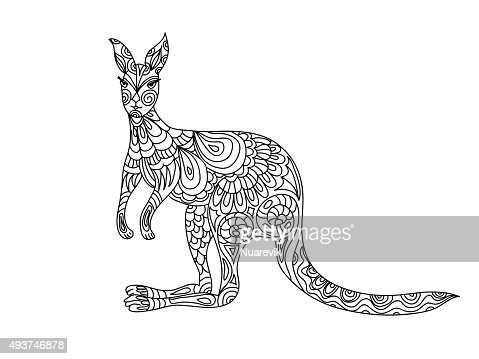 Kangaroo Coloring Page Vector Art Thinkstock