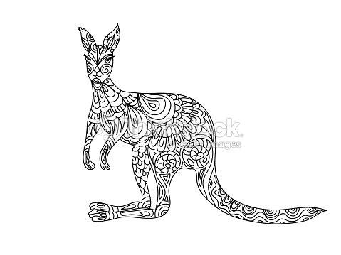Kangaroo Coloring Page Vector Art