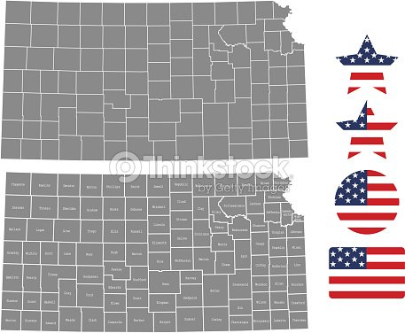 Kansas County Map Vector Outline In Gray Background Kansas State Of ...