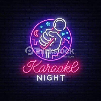 Karaoke Nacht Vektor Leuchtreklame Leuchtende Logo Symbol Leichte ...