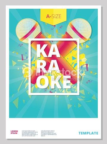 karaoke party flyer or poster template design ベクトルアート