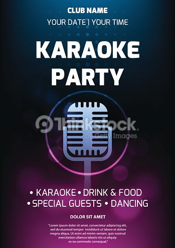 karaoke party invitation flyer template dark background with