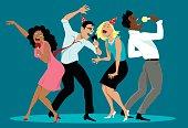 Diverse group of friends singing karaoke at a party, EPS 8 vector cartoon, no transparencies