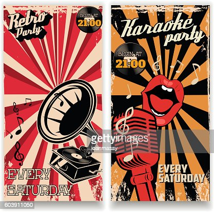 Karaoke Vintage Party Poster And Retro Party Flyers Templates Vector
