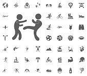Karate icon. Sport illustration vector set icons. Set of 48 sport icons