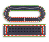 Kart race background. Top view. Line asphalt and circular track roads. Finish and start lines. Vector illustration.