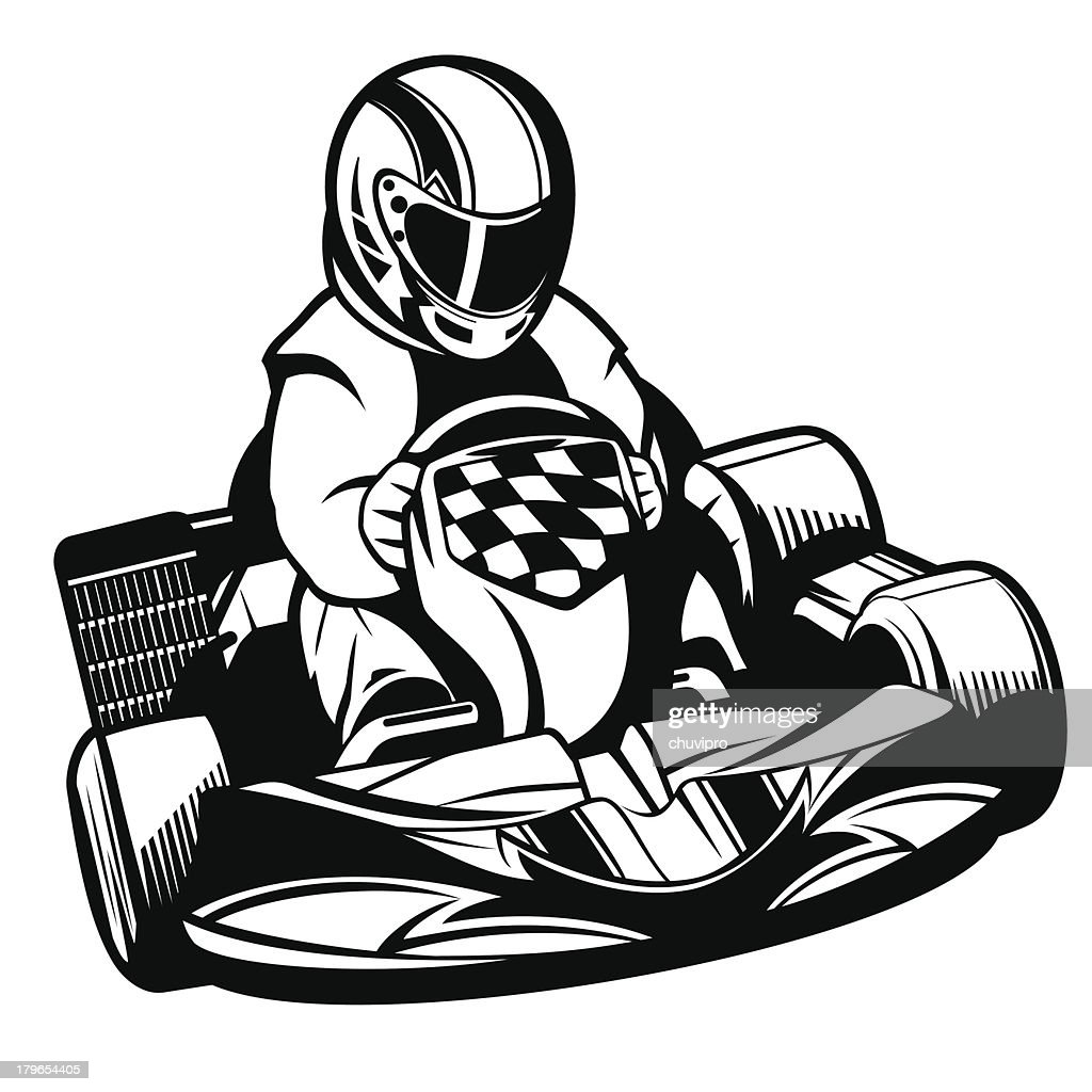 Kart Racing BW. : Vector Art