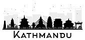 Kathmandu City skyline black and white silhouette. Simple flat concept for tourism presentation, banner, placard or web site. Cityscape with landmarks. Vector illustration.