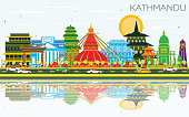 Kathmandu Nepal City Skyline with Color Buildings, Blue Sky and Reflections. Vector Illustration. Business Travel and Tourism Concept with Historic Architecture. Kathmandu Cityscape with Landmarks.