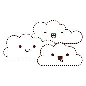 kawaii cumulus clouds icon fla in monochrome dotted silhouette vector illustration