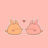 Kawaii cute bunnies  - Vector