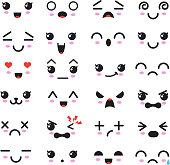 Kawaii cute faces. Manga style eyes and mouths. Funny cartoon japanese emoticon in in different expressions. Expression anime character and emoticon face illustration