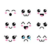 kawaii faces eyes icon, vector illustraction design image