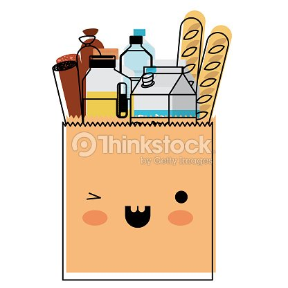 Kawaii square paper bag with foods sausage bread and drinks juice and water bottle and milk carton in watercolor silhouette