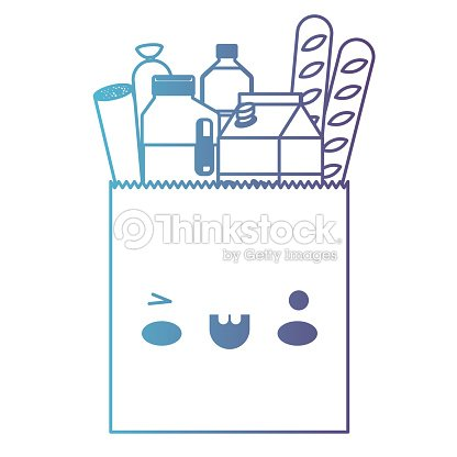 Kawaii square paper bag with foods sausage bread and drinks juice and water bottle and milk carton in degraded blue to purple color contour