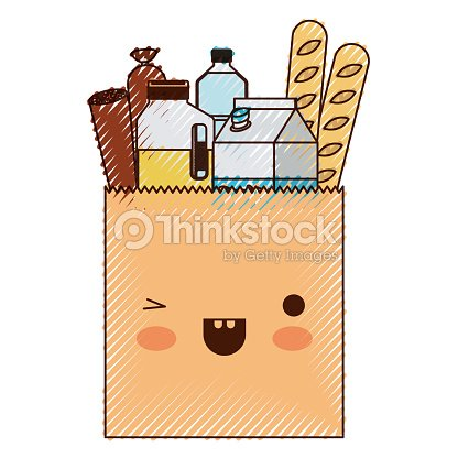 Kawaii square paper bag with foods sausage bread and drinks juice and water bottle and milk carton in colored crayon silhouette