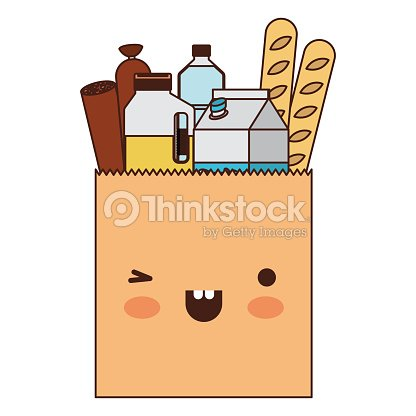 Kawaii square paper bag with foods sausage bread and drinks juice and water bottle and milk carton in colorful silhouette