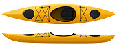 Vector illustration of a yellow kayak, with top and side views. Illustration uses linear gradients. Includes AI10-compatible .eps format, along with a high-res .jpg.