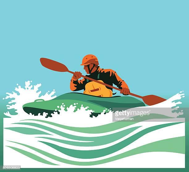Kayaker Paddling in White Waters