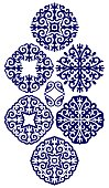 Kazakh ornaments in the form of a circle, six pieces