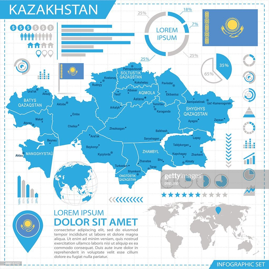 Kazakhstan Map With Navigation Icons Vector Art Getty Images