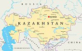Kazakhstan political map with capital Astana, national borders, important cities, rivers and lakes. Republic in Central Asia and the worlds largest landlocked country. English labeling. Illustration.