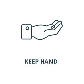 Keep hand  vector line icon, outline concept, linear sign
