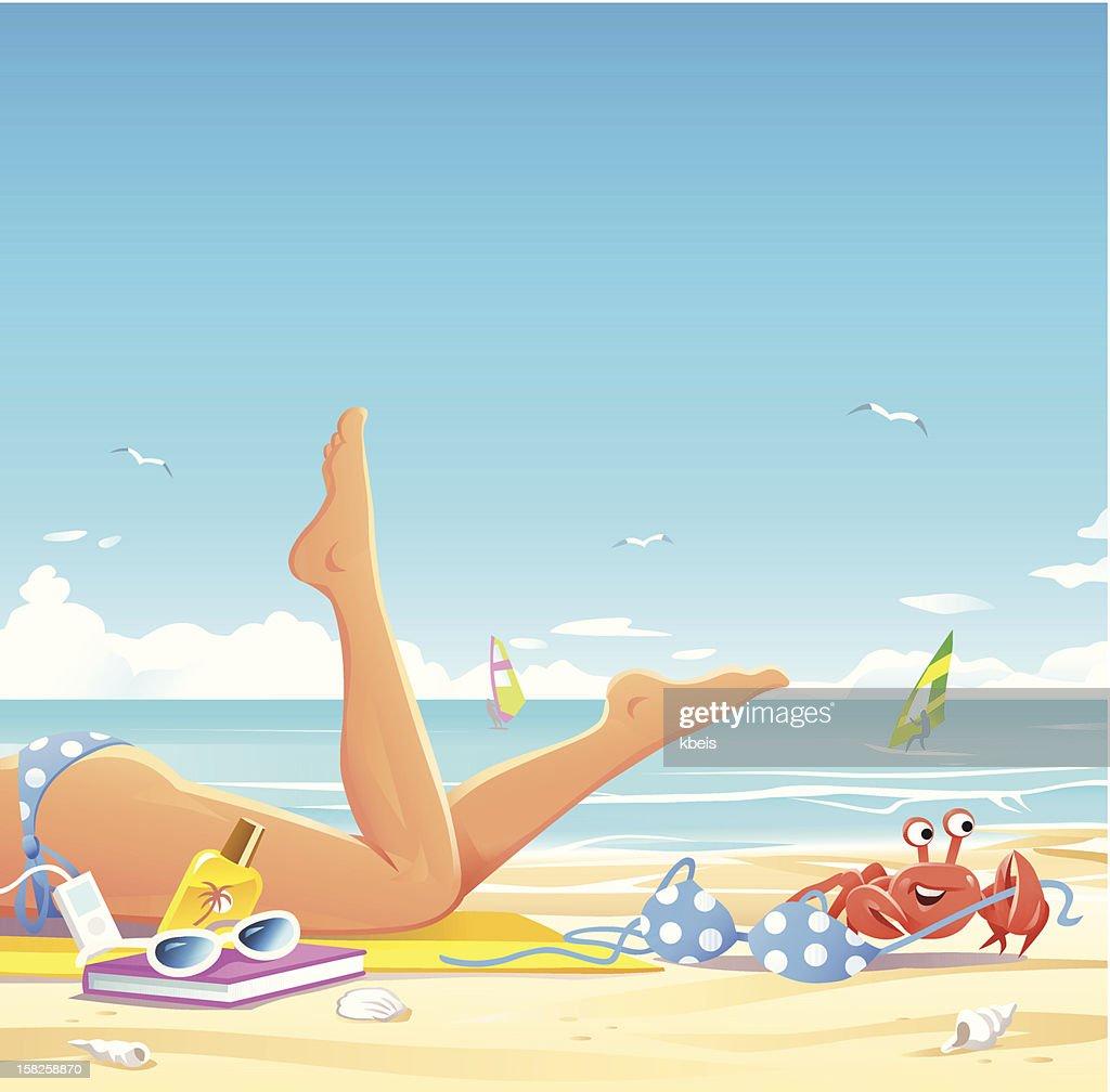 Keep Your Valuables Safe On The Beach : Vector Art