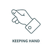Keeping hand vector line icon, outline concept, linear sign