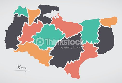 Kent england map with states and modern round shapes vector art kent england map with states and modern round shapes vector art gumiabroncs Image collections