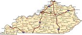 Highway map of the state of Kentucky with Interstates and US Routes.  It also has lines for state and county routes (but not labeled) and many cities on it as well.  All cities are the County Seats an