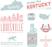 A set of vintage-style icons and typography representing the state of Kentucky, including Louisville. Each items is on a separate layer. Includes a layered Photoshop document. Ideal for both print and