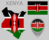 Colorful flag, map pointer and map of Kenya in the colors of the Kenyan flag. High detail. Vector illustration