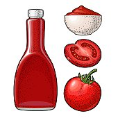 Ketchup bottle, tomato sauce in a plate, whole and slice tomatoes. Vector engraving color illustration. Isolated on white background.