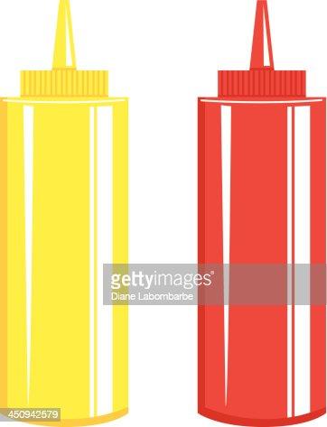Ketchup Mustard Bottle Vector Art | Getty Images