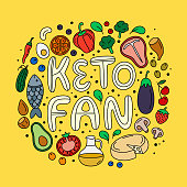 Keto diet hand drawn vector illustration. Keto fan handwritten phrase. Popular low carb high fat diet concept. Ketogenic lifestyle. Health keto food. Organic nutrition. Poster, banner, t-shirt design.