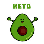 Avocado cartoon character as symbol of Keto. Ketogenic diet for weight loss and treatment. High-fat, low-carbohydrate intake concept. Medical poster for health magazines.