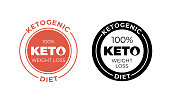 Ketogenic diet icon. Vector 100 percent weight loss keto diet label stamp