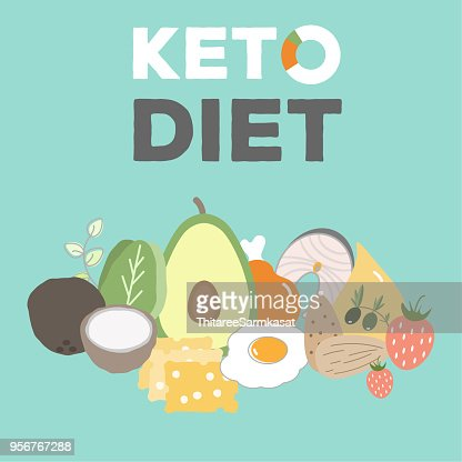 ketogenic diet, keto food, high fats, healthy heart food : stock vector