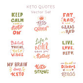 Ketogenic diet lettering vector set. Hand drawn lettering motivation quotes set. Premade designs.Custom typography for your designs:t-shirts,bags,posters,invitation.