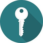 Key circle icon with long shadow. Flat design style. Key simple silhouette. Modern, minimalist, round icon in stylish colors. Web site page and mobile app design vector element.