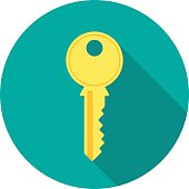 Key icon with long shadow. Flat design style. Round icon. Key silhouette. Modern flat icon in stylish colors. Web site page and mobile app design element.