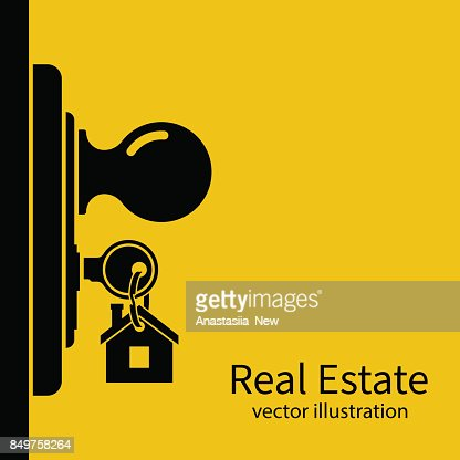 Key in keyhole on door silhouette. : stock vector