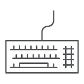 Keyboard thin line icon, electronic and device, keypad sign, vector graphics, a linear pattern on a white background, eps 10.